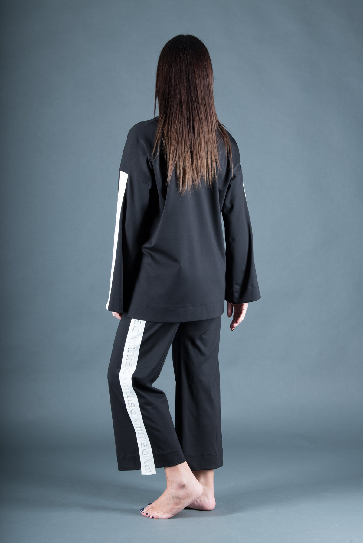 Two pieces set, Black Tracksuit with Stripe, Elegant & Sport Sets