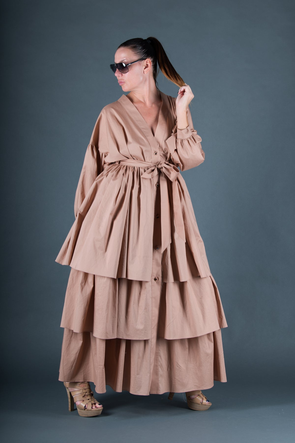 Beige flounces dress, Long Cotton Abaya, Loose Maxi Dress