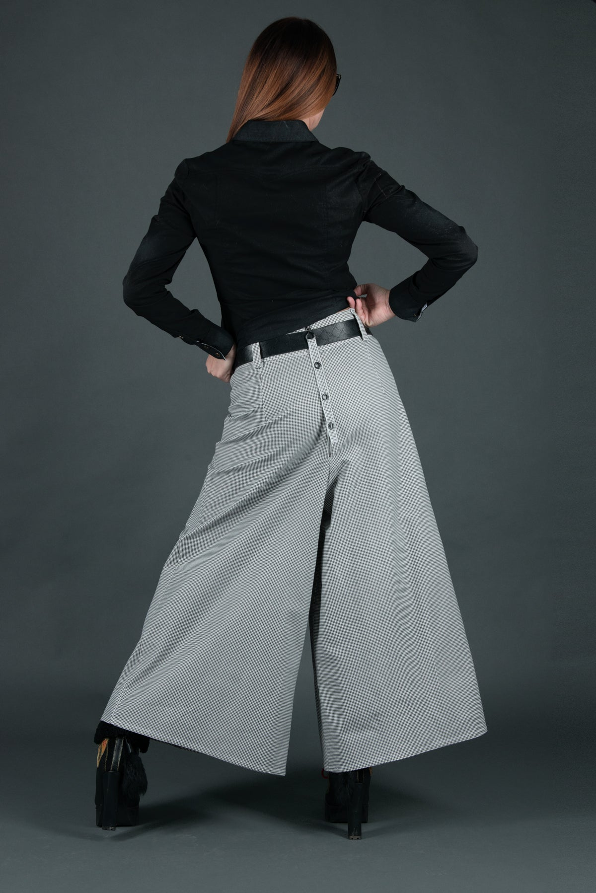 Wide Cotton Skirt Pants, Loose Women Drop Crotch Pants