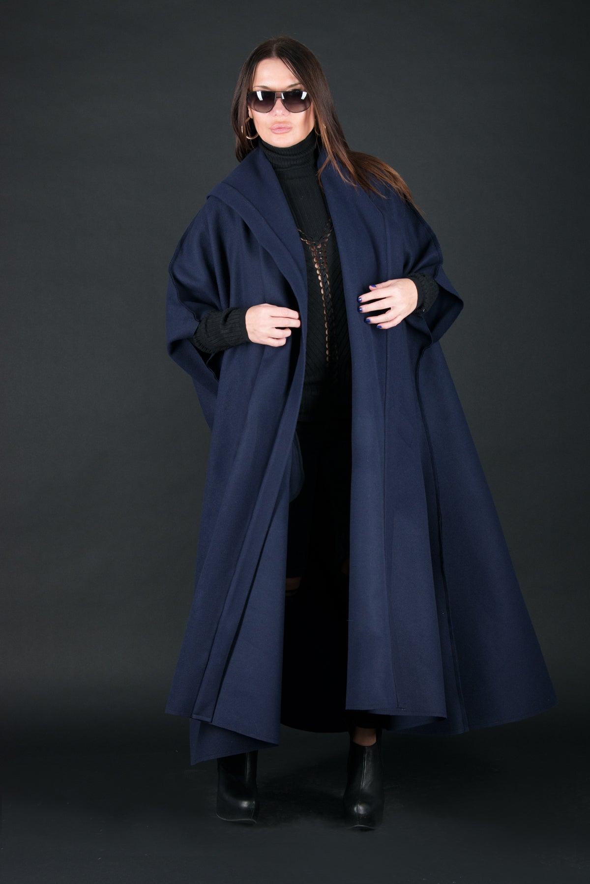Sleeveless Blue Wool Coat, Cashmere Sleeveless Cloak