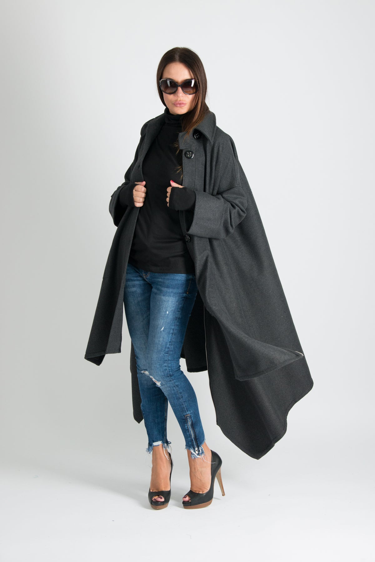 Dark grey Winter women Coat, Cashmere Coat, Coats