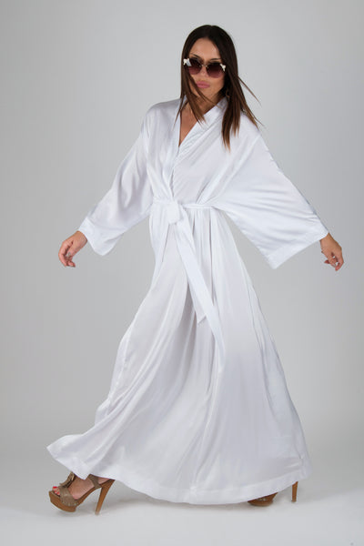 White Kimono Bathrobe Sexy Home Clothes, Maxi Kaftan