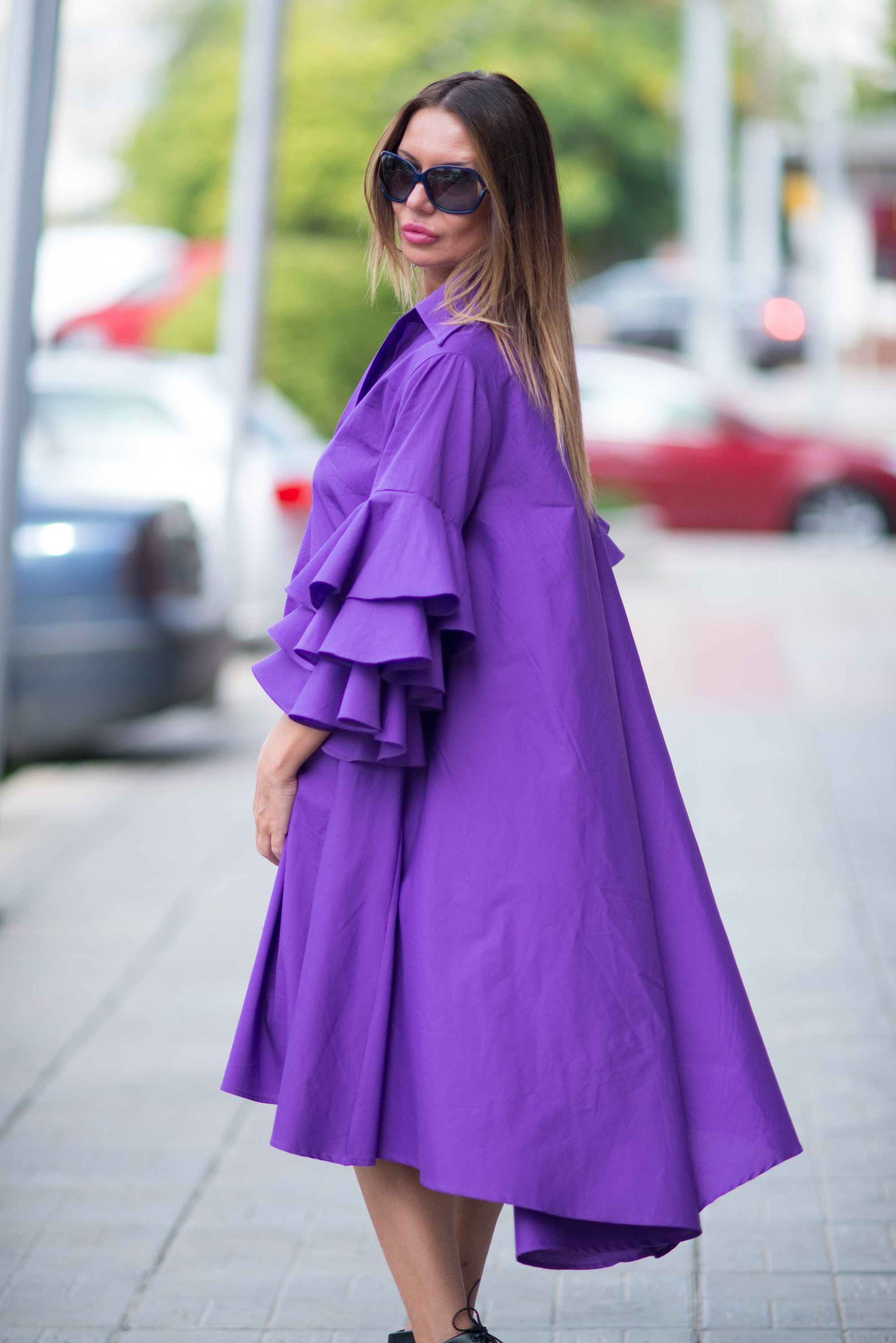 Purple Loose Dress with Flounces sleeves, Dresses Spring & Summer