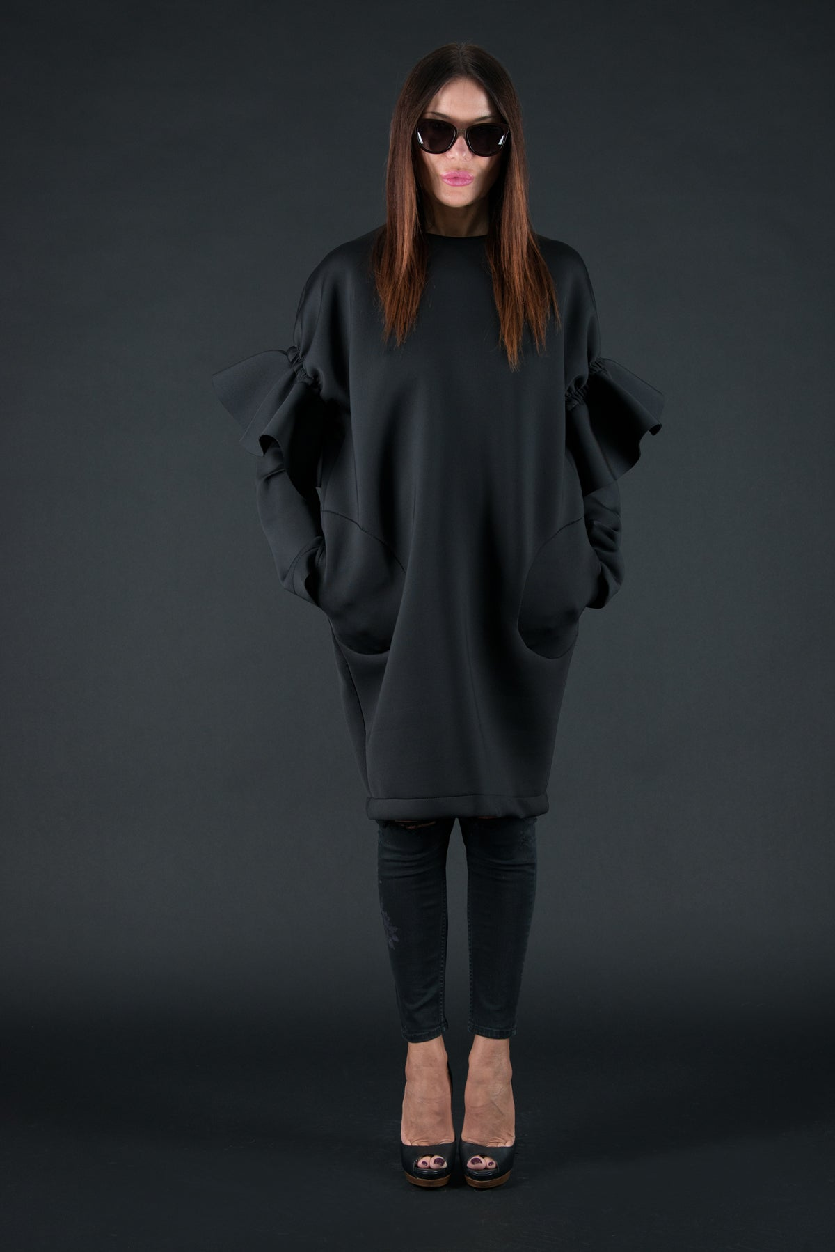 Black Winter Neoprene Dress with long sleeves - EUG FASHION