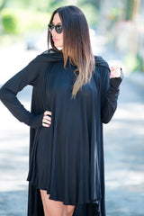 Hooded Black Tunic, Long Sleeve Plus size Summer Top