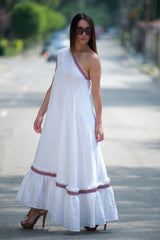White Boho Linen One shoulder Dress, Dresses Spring & Summer