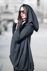 Black Plus size Maxi Tunic, Oversize Hooded Casual Top, Hooded Tunic