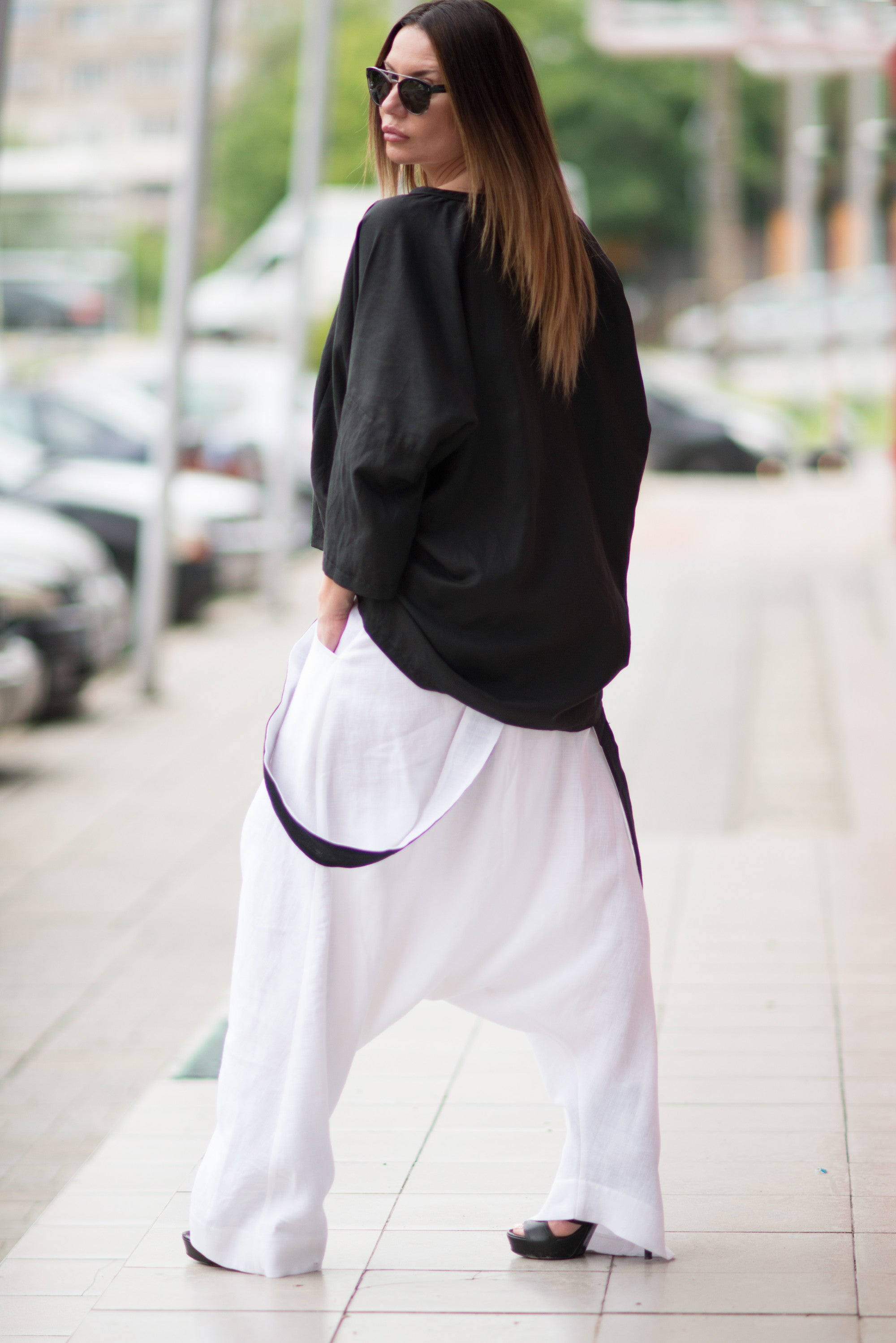 White Loose Linen Harem Pants with suspenders - EUG FASHION