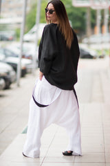 White Loose Linen Harem Pants with suspenders, Linen Clothing
