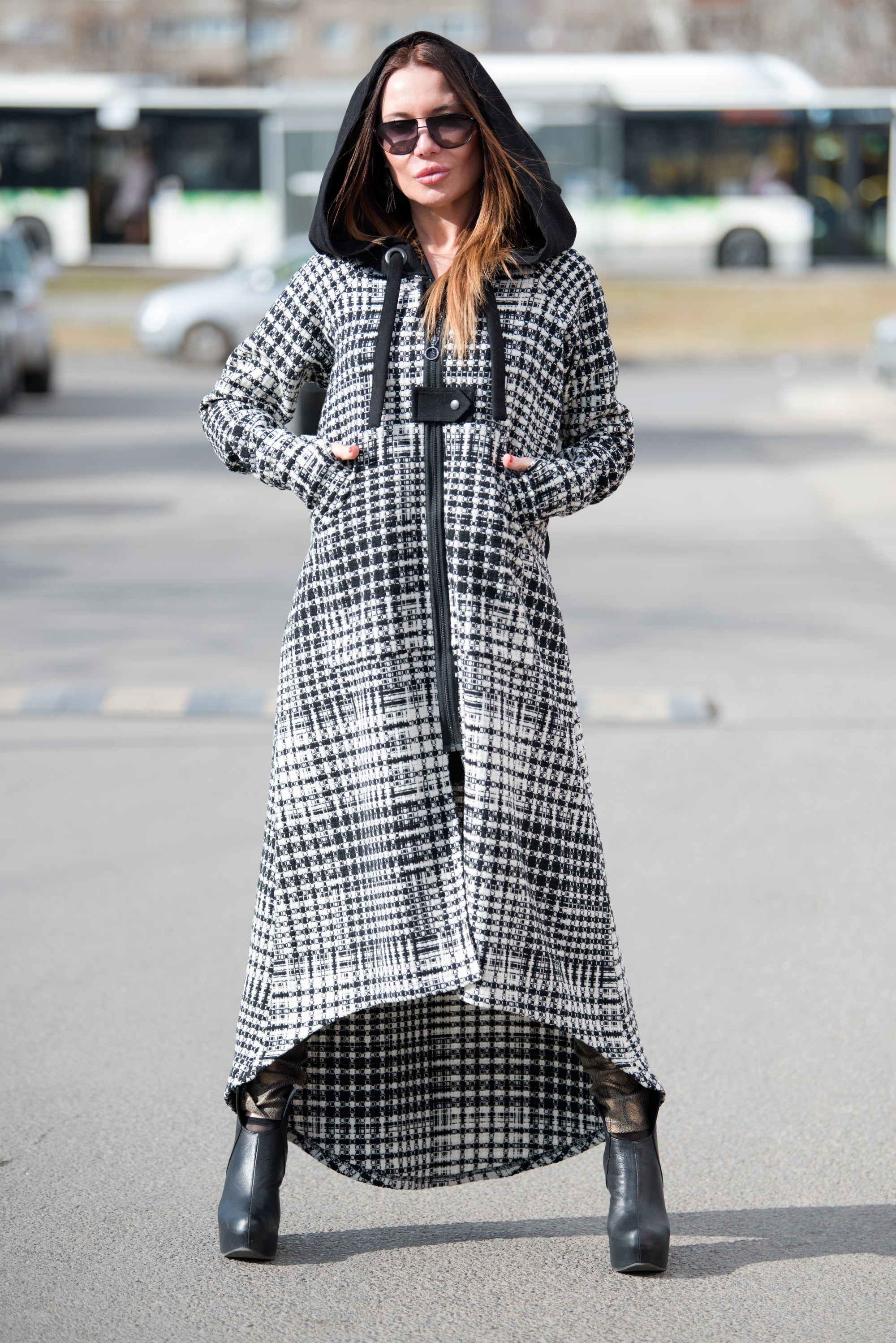 Spring Shepherds Plaid Wool hooded vest, Coats