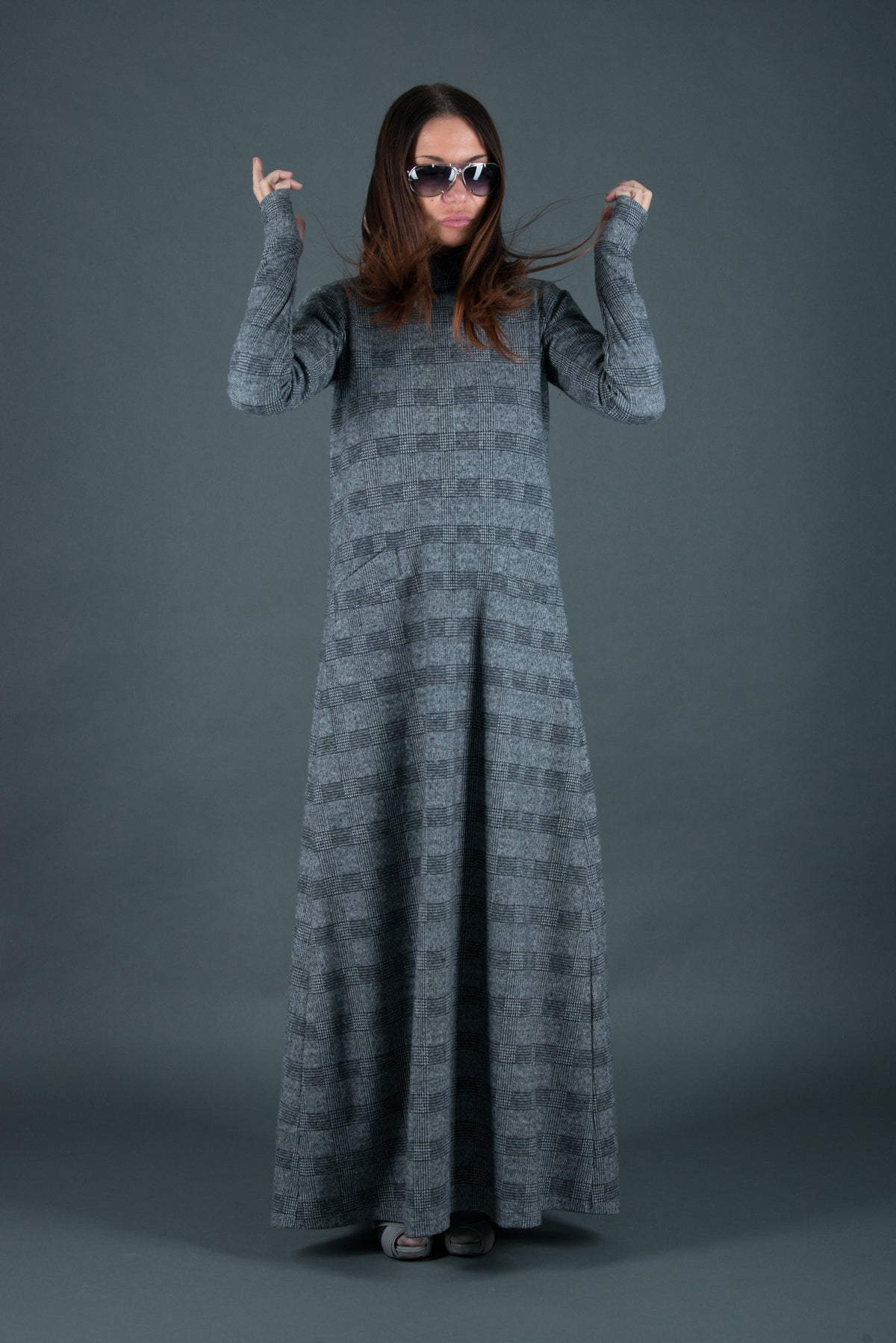 Autumn Winter Grey Plaid Long Dress, Cotton Dress Loose Style