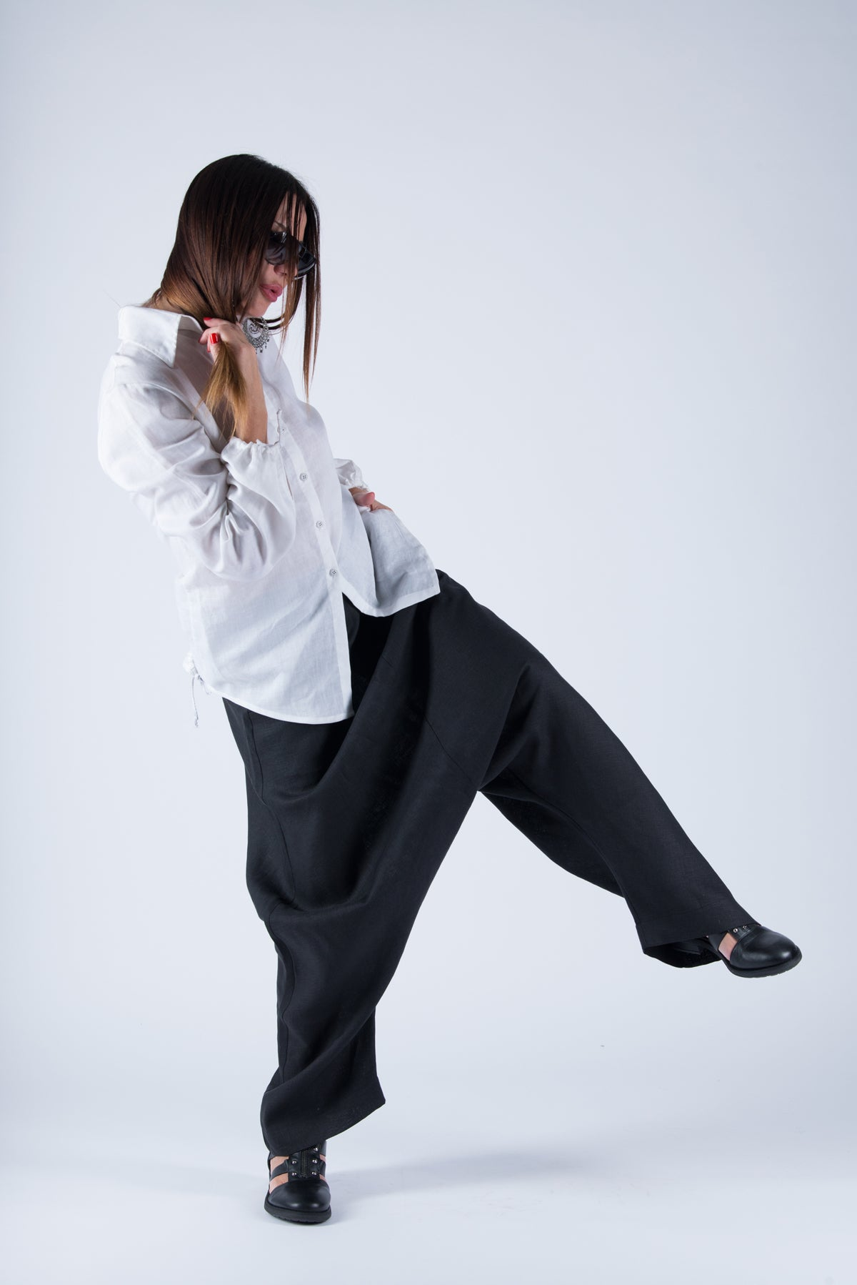 Black linen harem Pants, Linen Harem Pants with suspenders