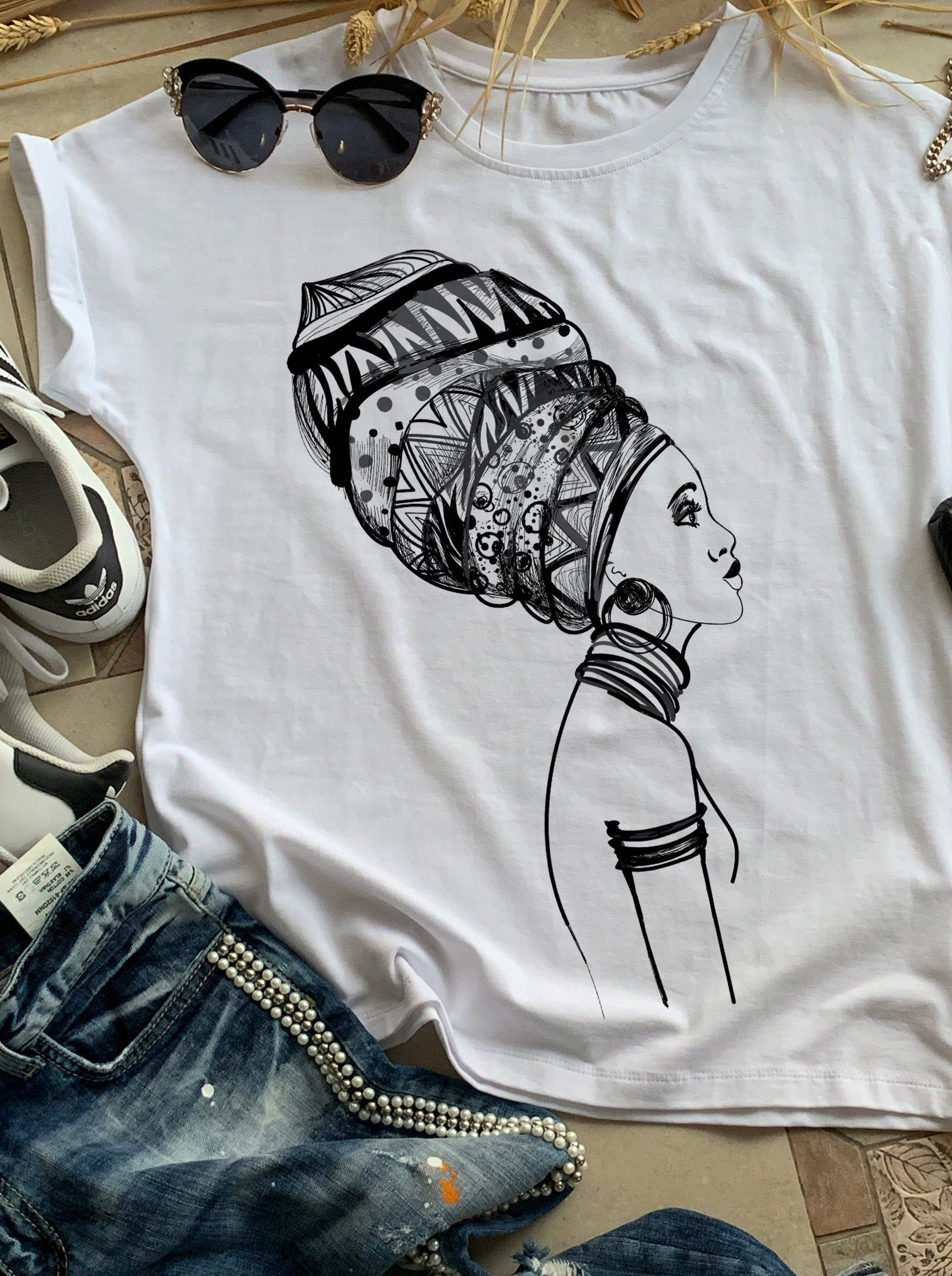 African Woman with Turban Cotton Print T-shirt, T-shirts