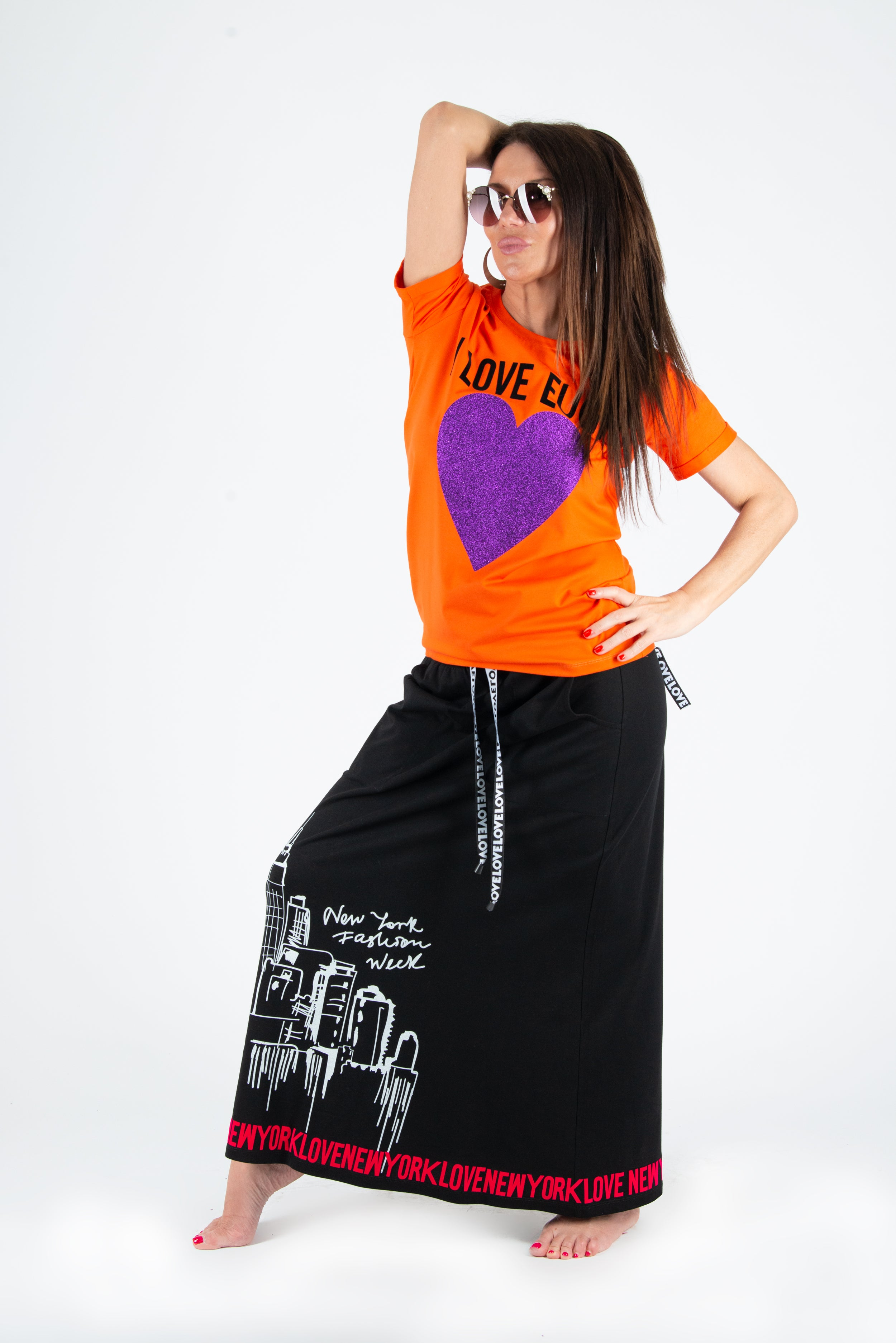Orange Printed Two pieces cotton outfit, skirt and tee