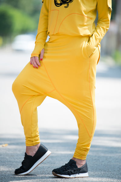 Yellow Cotton harem pants, Urban Style sport pants