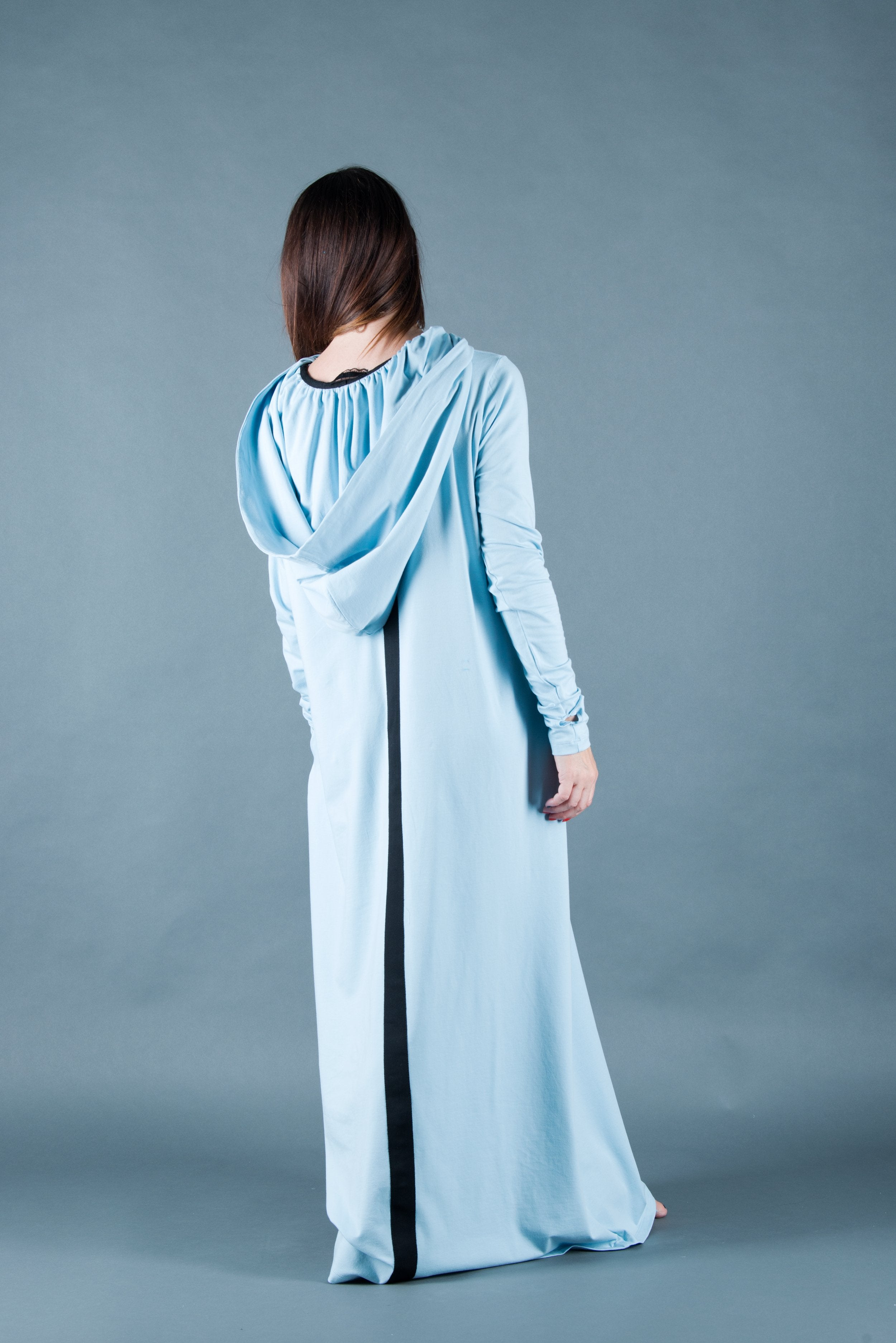 Blue Hooded Long Dress with African Woman Print