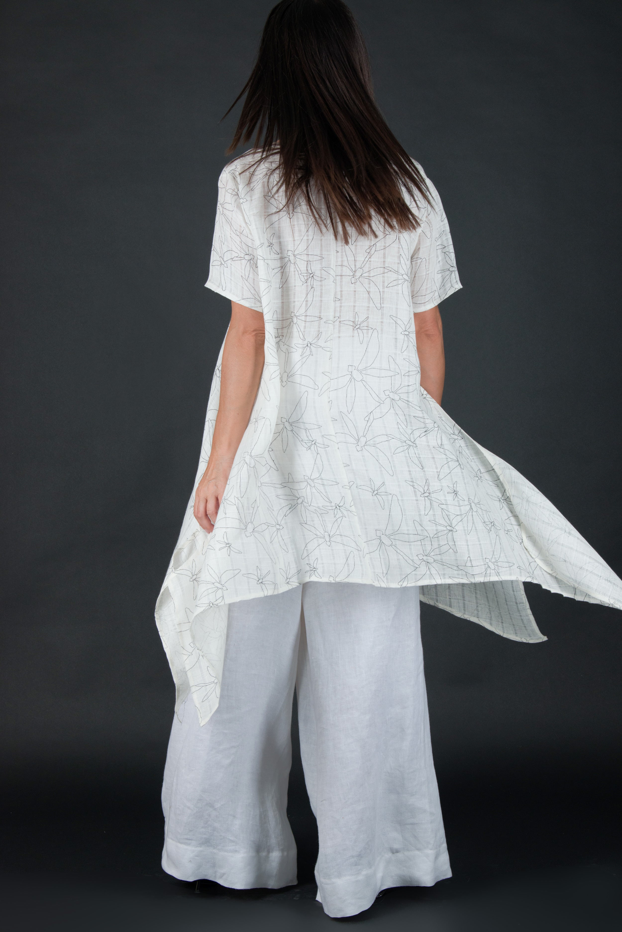 Off White Linen Tunic, Wide  Long Loose Top, New Arrival
