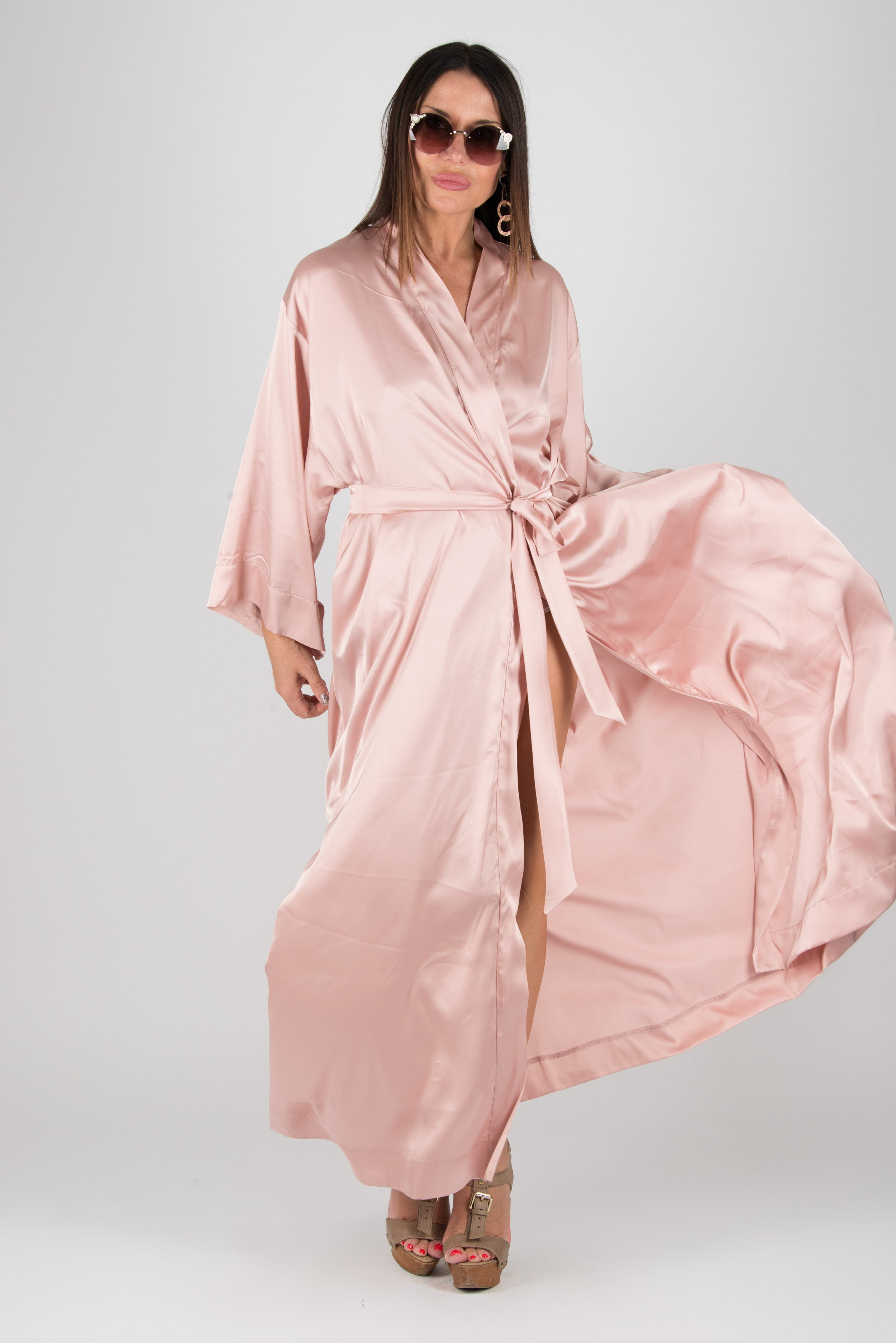 Peach Kimono Bathrobe Sexy Home Clothes, Maxi Kaftan, Kaftans Clothing