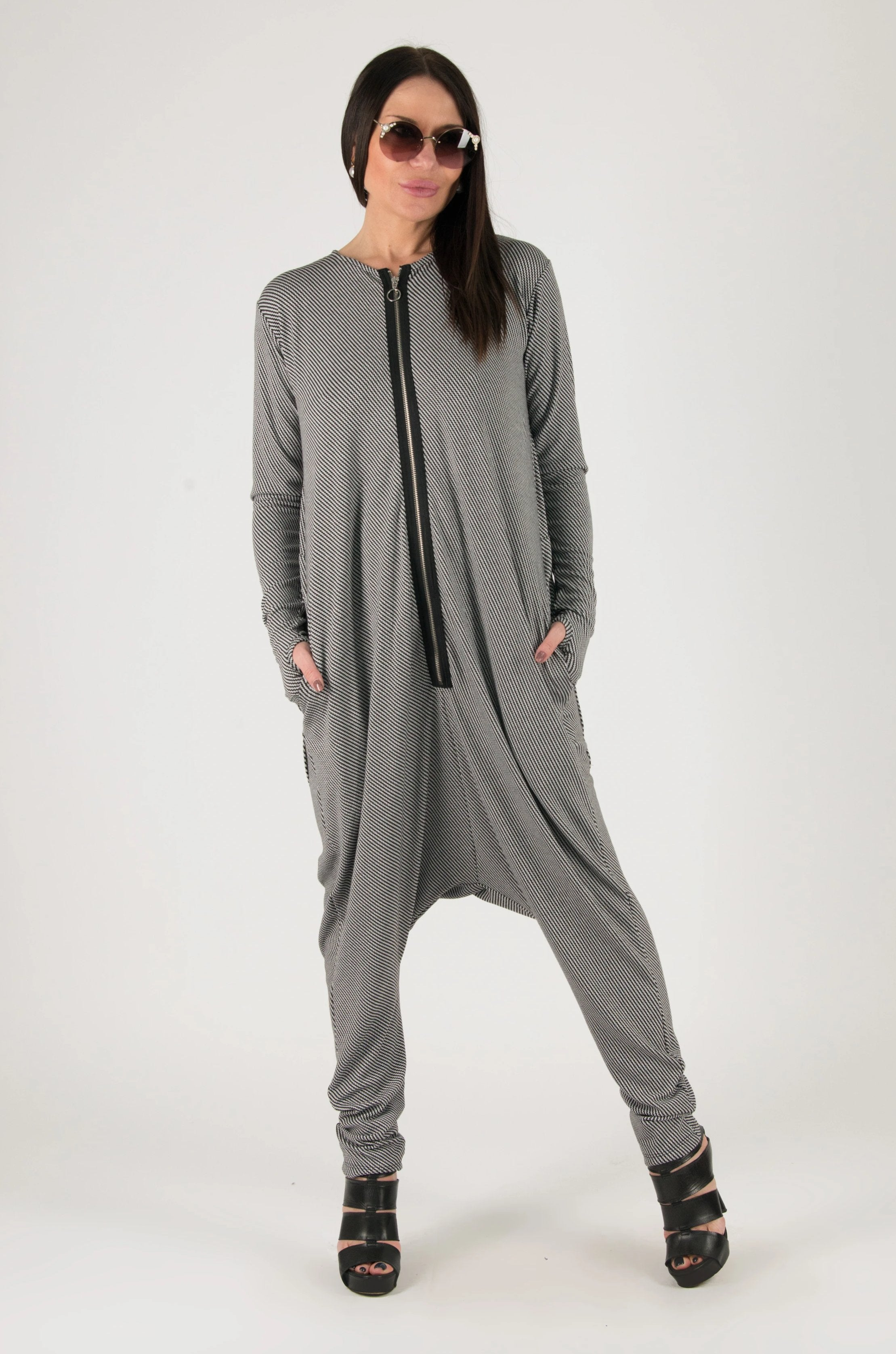 Grey Harem Jumpsuit, Drop Crotch Rompers - EUG FASHION