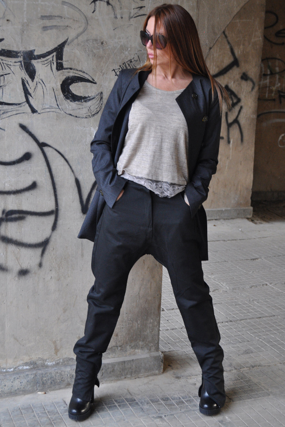 Black Drop Crotch Harem Pants, Black Pants, Trousers with Zippers and a Big Pocket