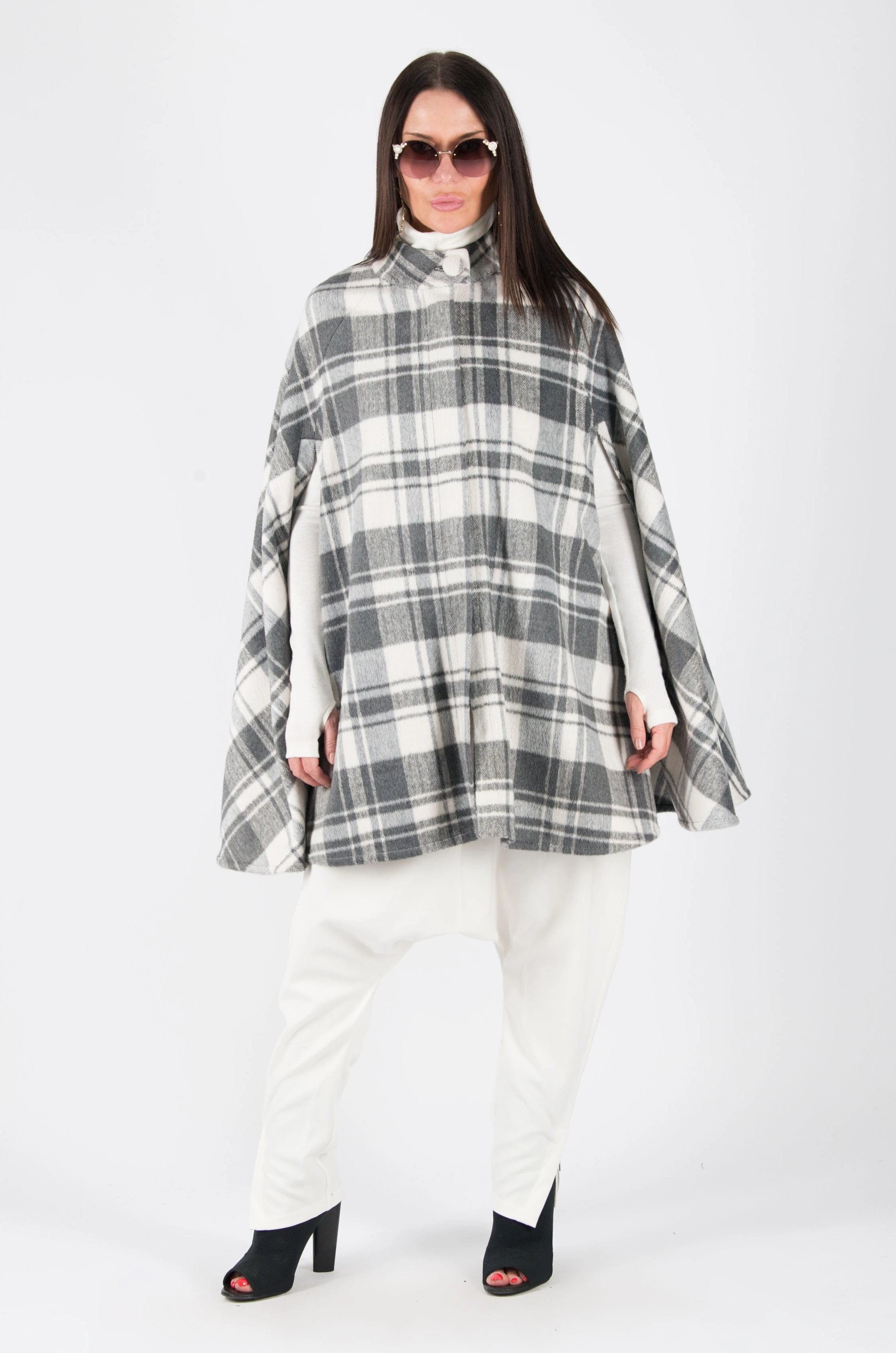 White Grey Plaid Cashmere Short Cape with Loose Line, Coats