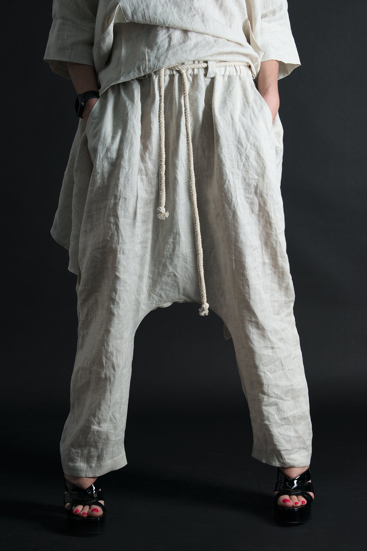 Linen Harem Loose Pants, Wide Legs Pants, Linen Clothing