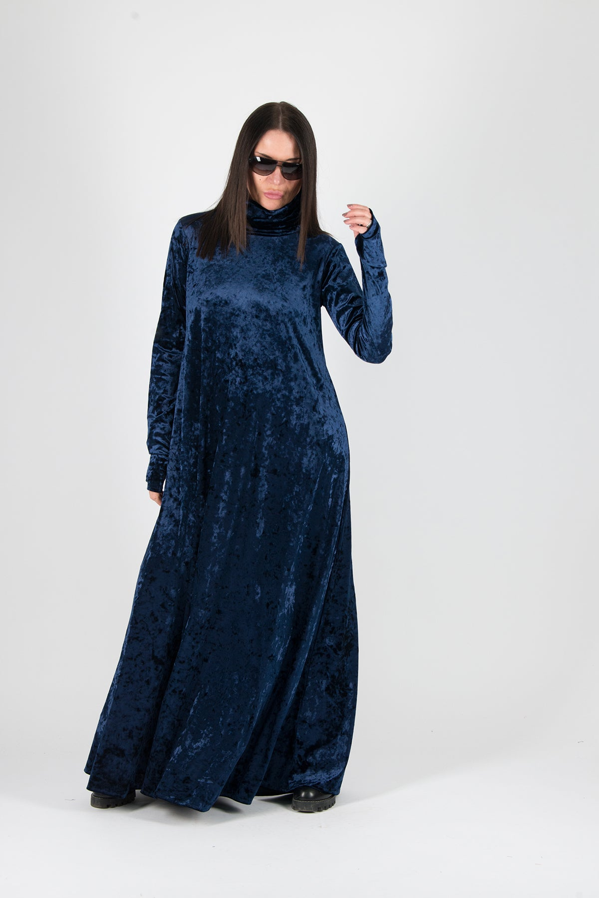 Turtleneck Navy Blue Velvet Long Dress - EUG FASHION