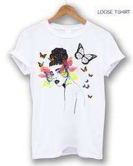 African Woman Butterfly T-shirt, T-shirts