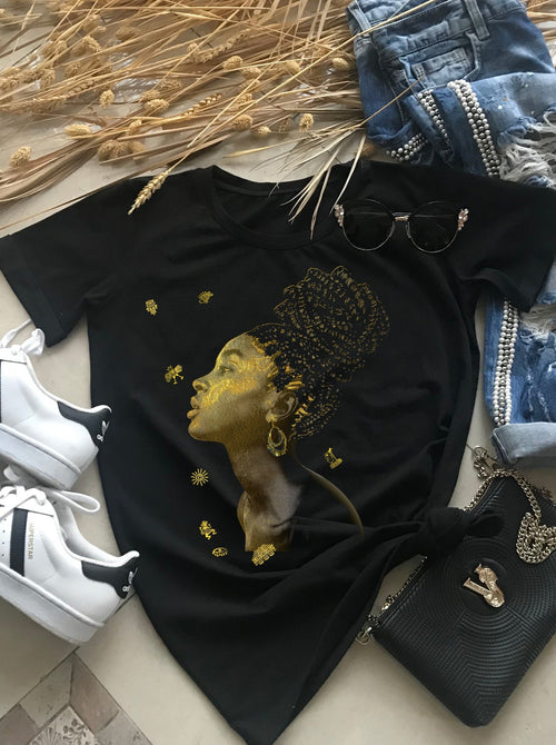 African Golden Woman Cotton Print T-shirt, T-shirts
