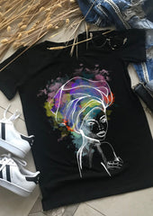 African Woman Print T-shirt - EUG FASHION
