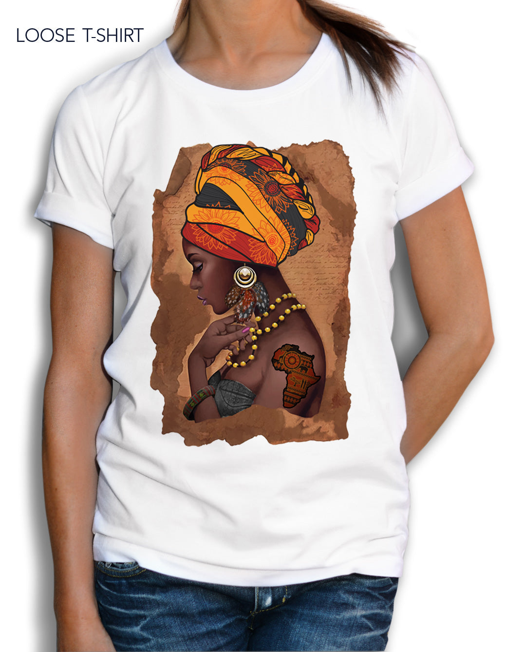 African Woman Map Cotton Print T-shirt, T-shirts