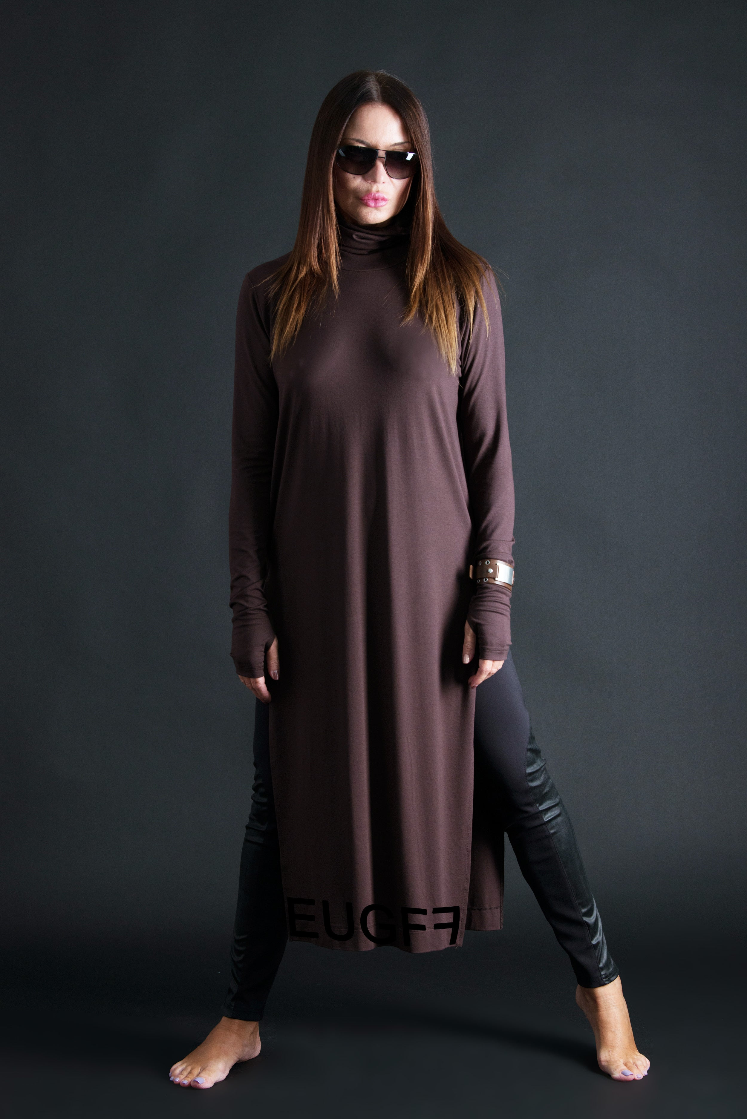 Brown African Woman Turtleneck Tunic Top, New Arrival