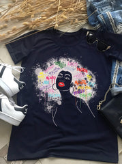 African Woman Big Hair T-shirt - EUG FASHION