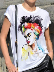 African Woman Painted T-shirt - EUG FASHION