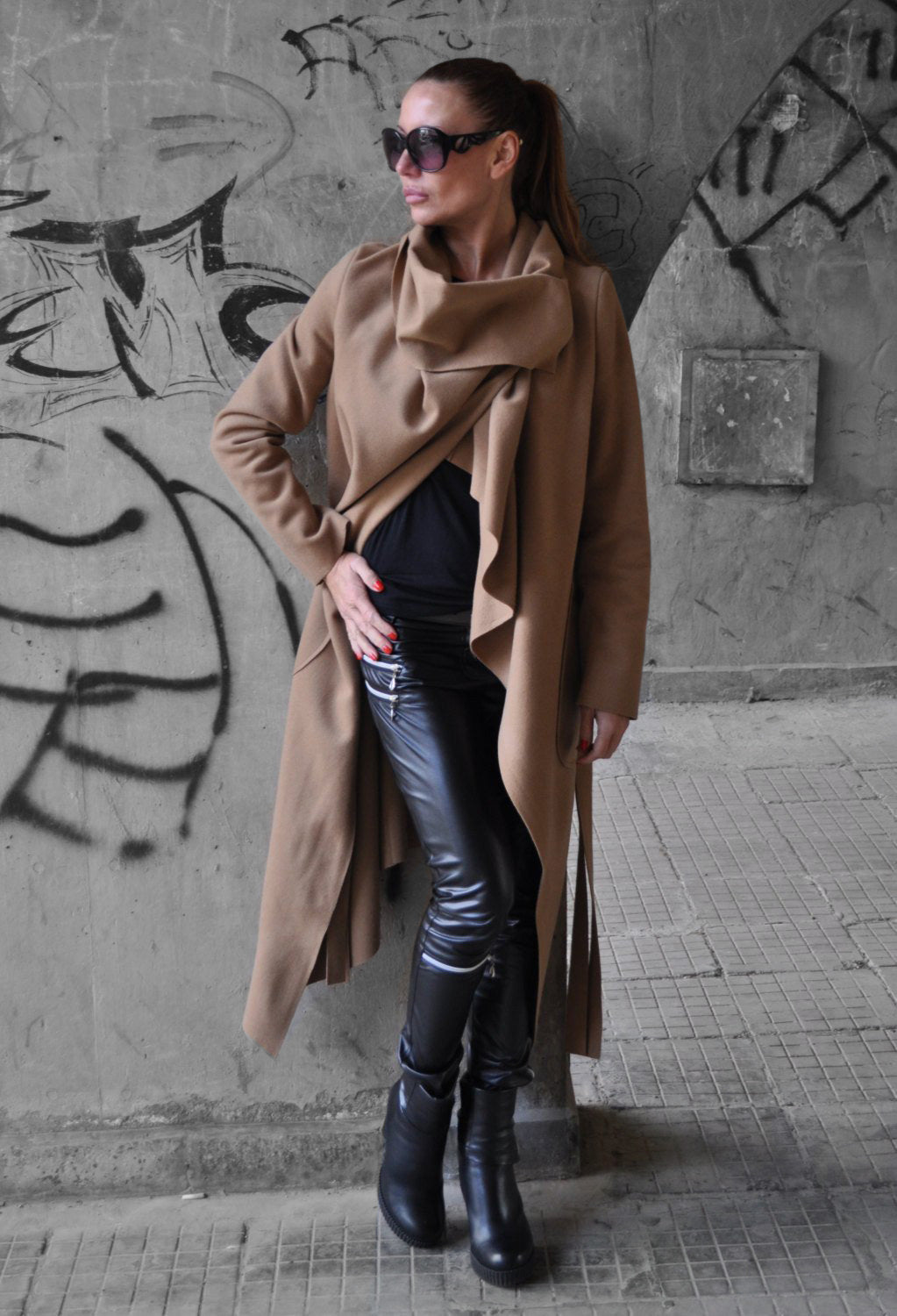 Beige Winter Cashmere Women Coat