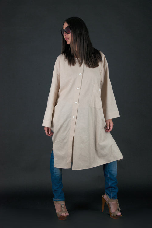 Light Beige Long Linen Top, Plus size Linen Tunic - EUG FASHION