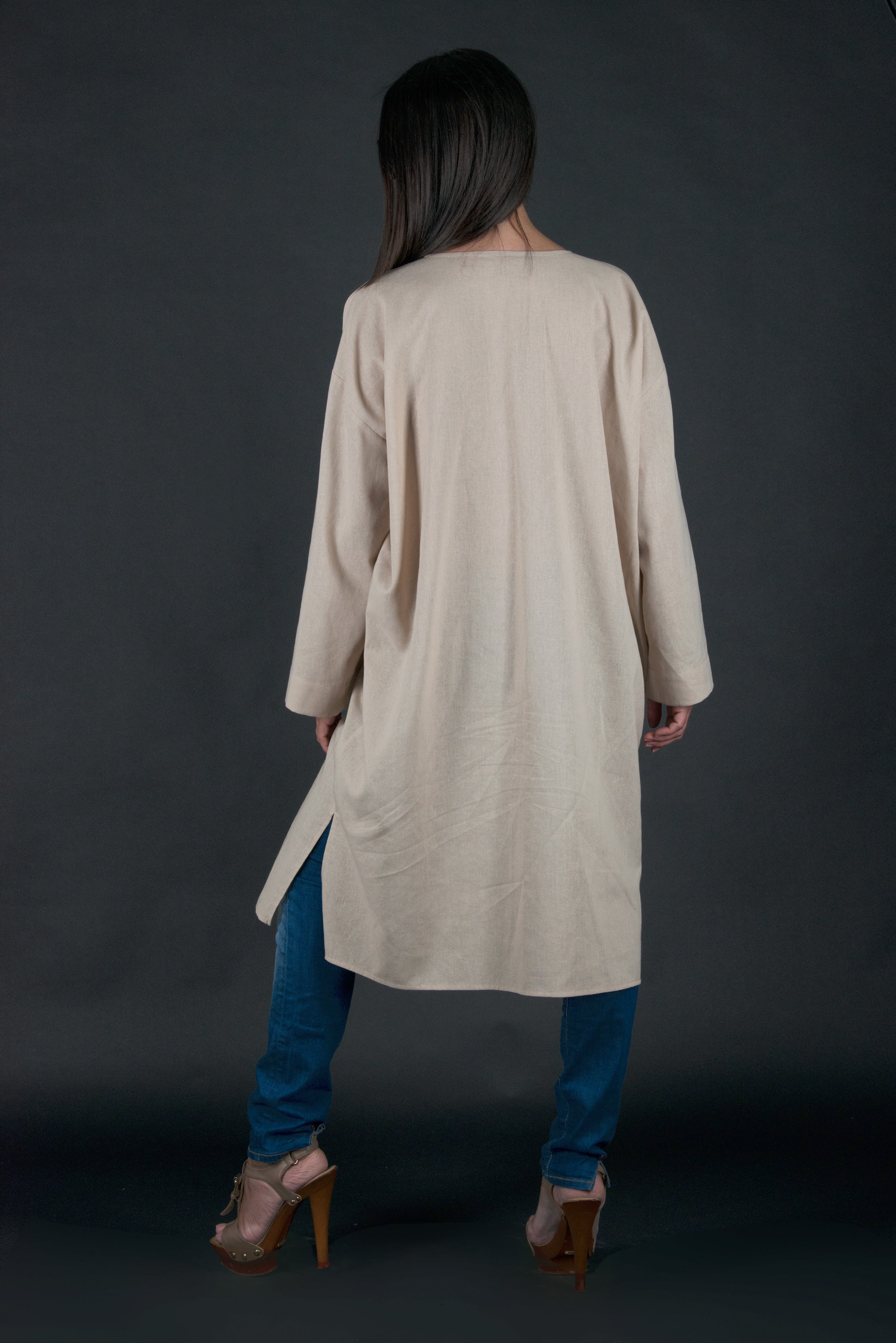 Light Beige Long Linen Top, Plus size Linen Tunic, Tops & Tunics