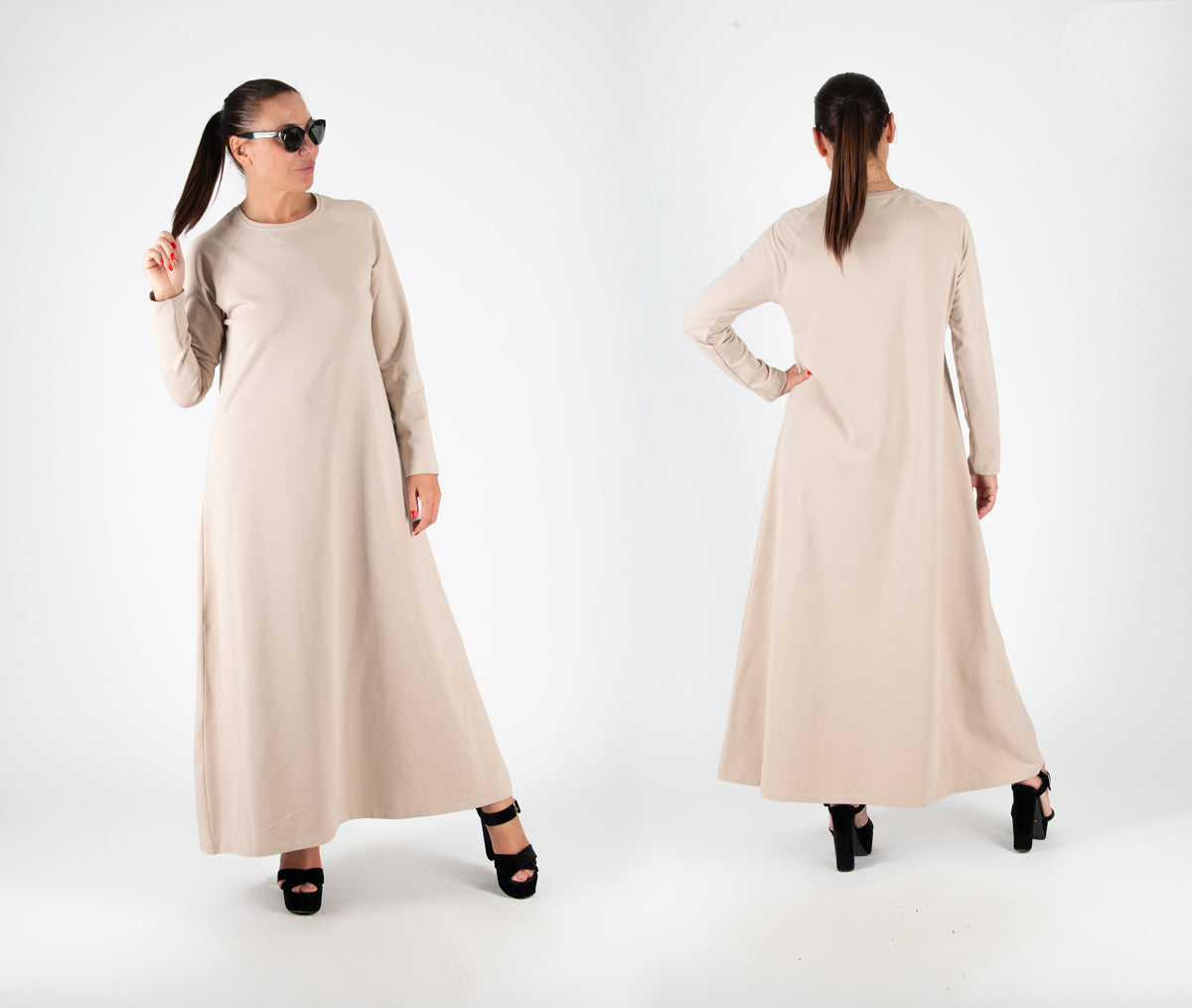 beige winter dress