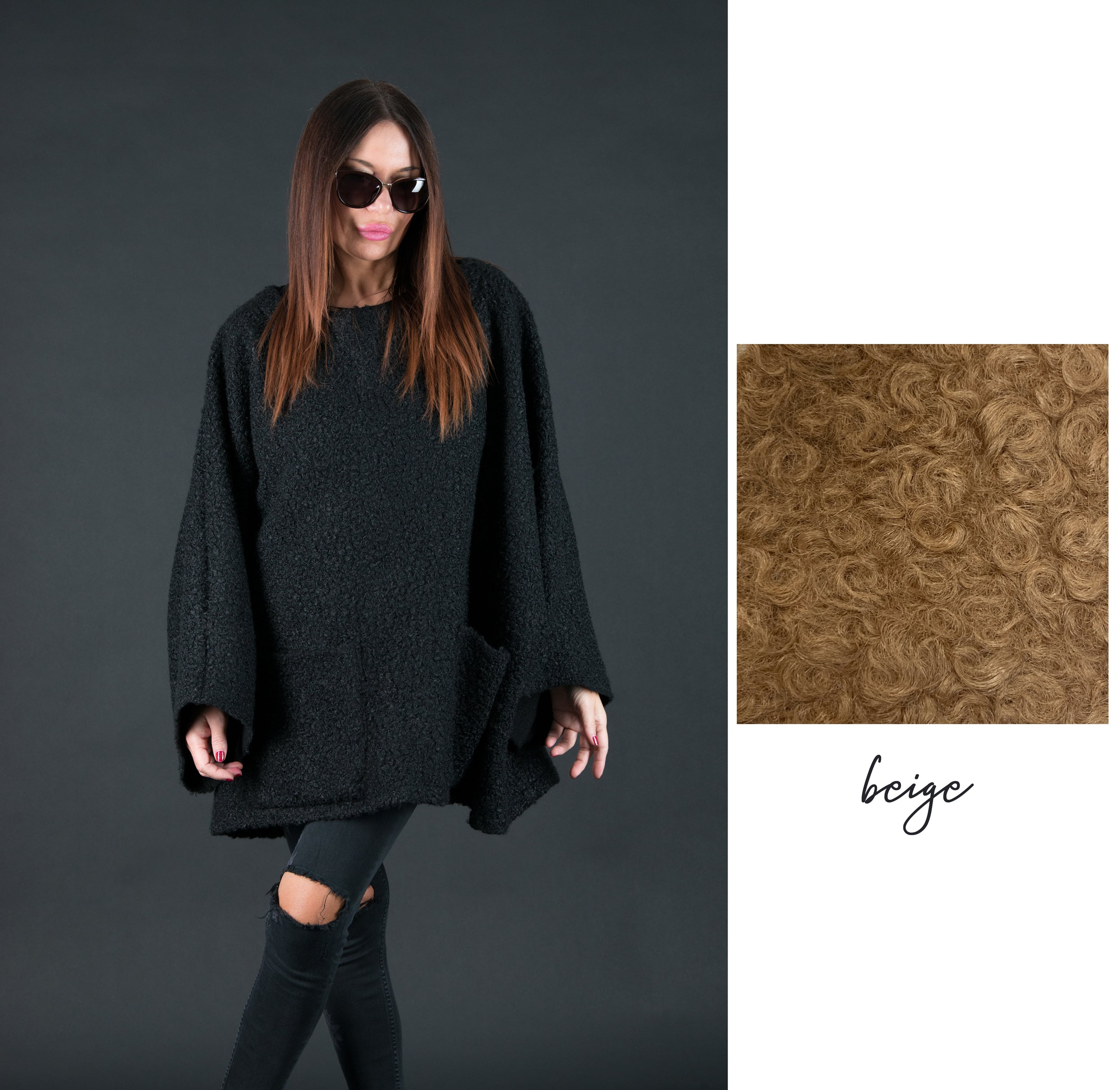 Wool Black  Winter Poncho