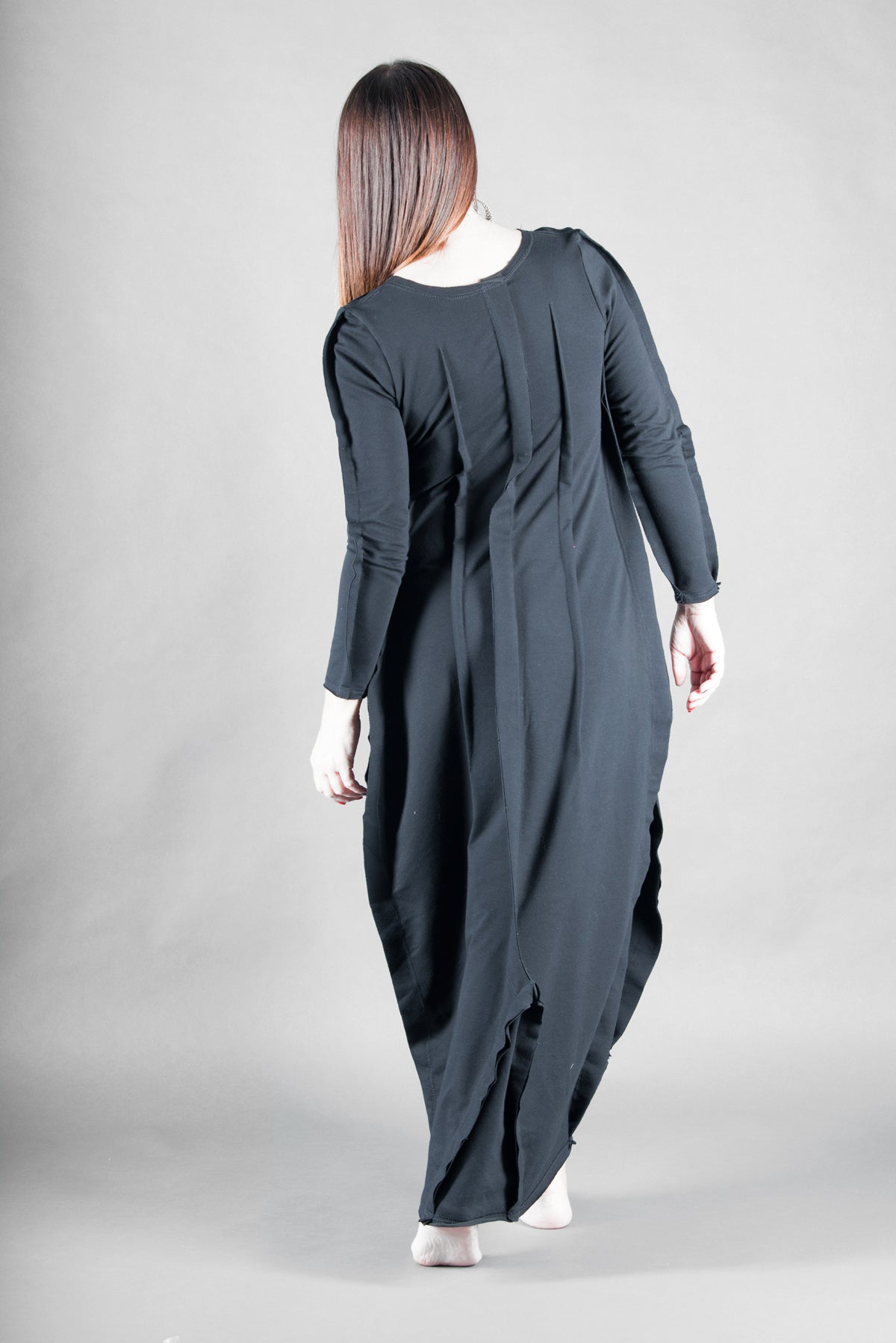 Black Plus Size Long Cotton Maxi Dress, Dresses & Maxi Dresses