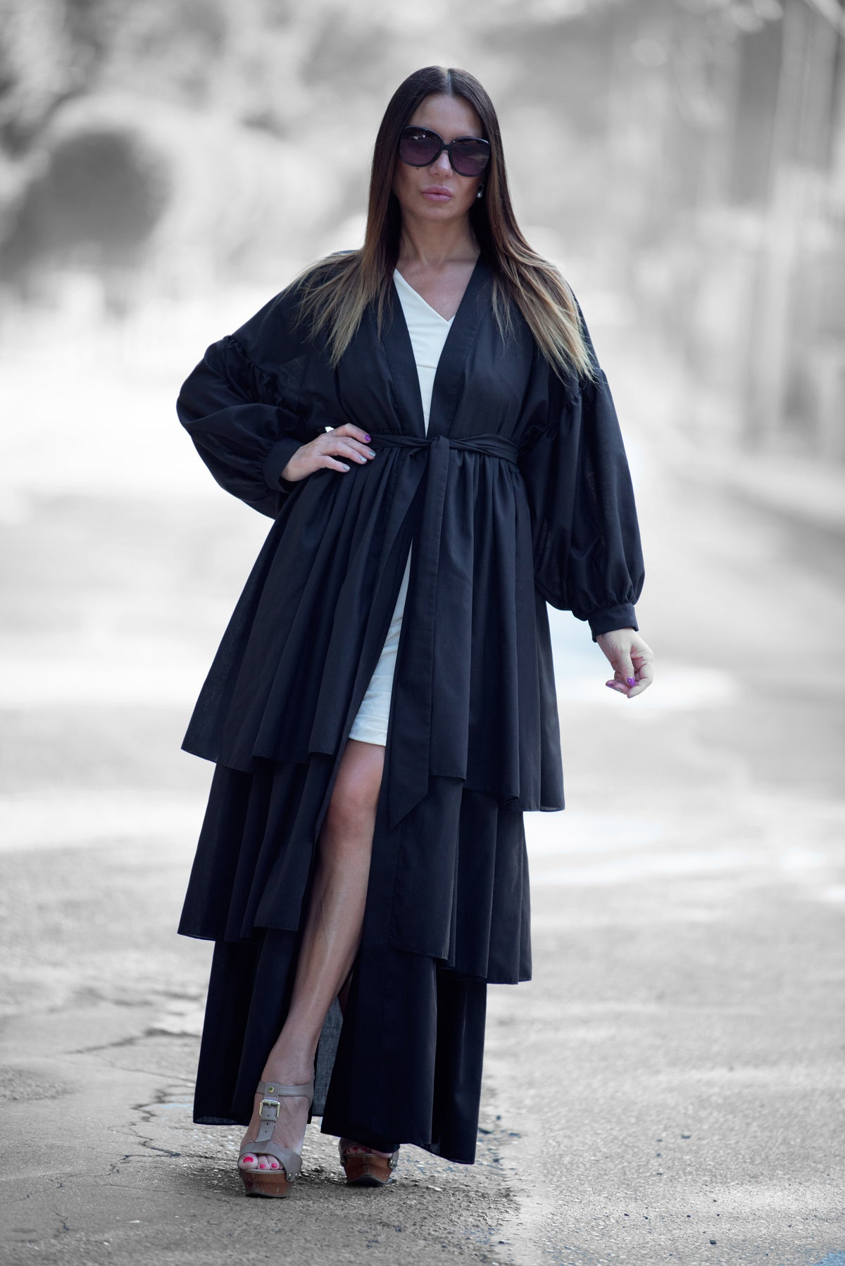 Flounces Black Cotton Abaya Loose Maxi Dress