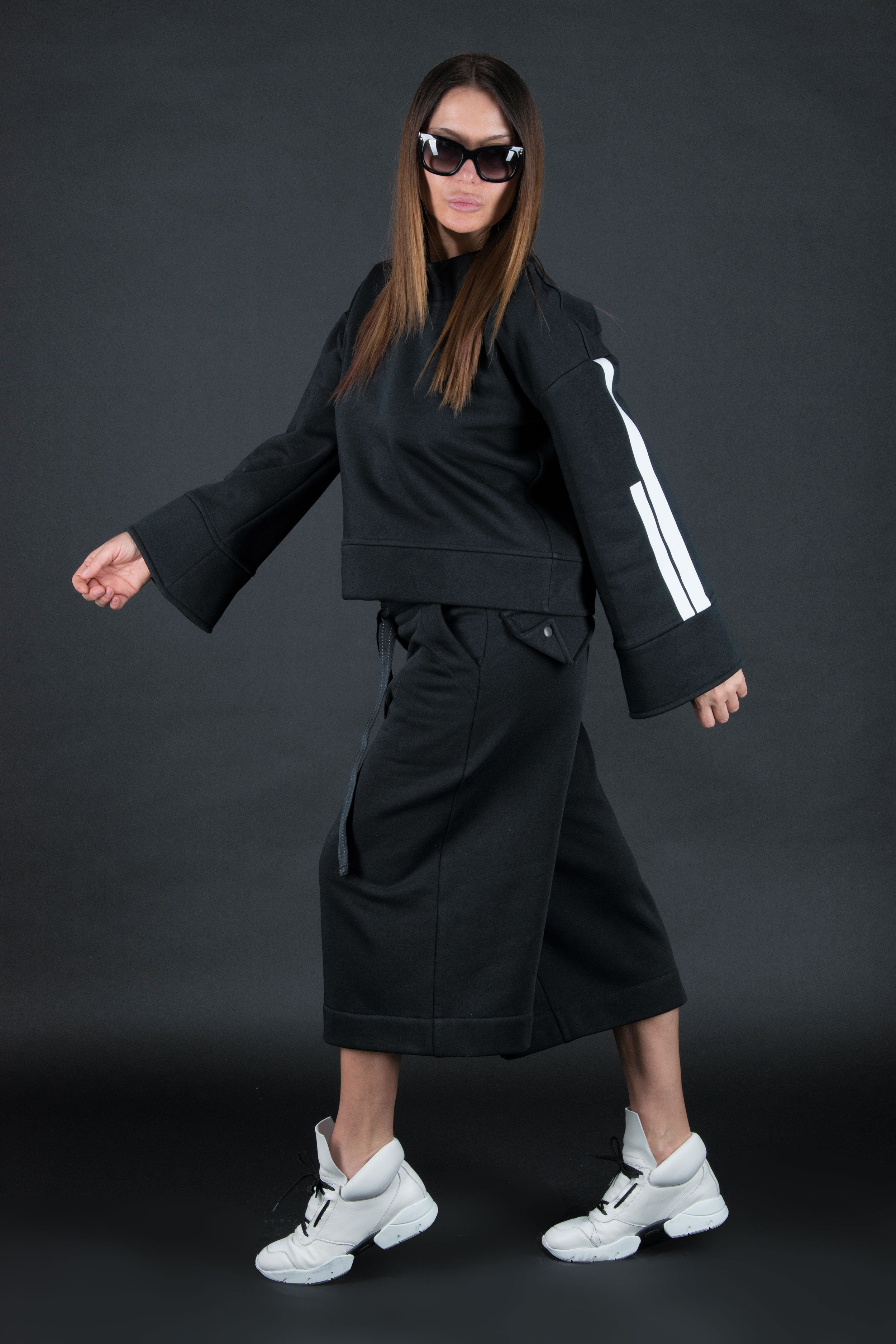 Two pieces set, Black Cotton Fashion Tracksuit, Elegant & Sport Sets