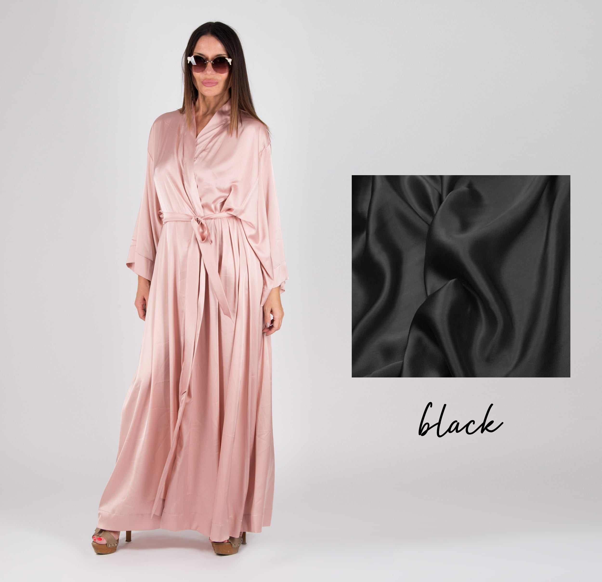 Peach Kimono Bathrobe Sexy Home Clothes, Maxi Kaftan