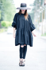 Black Maxi Flounces Cotton Tunic, Tops & Tunics