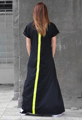 Navy Blue maxi summer dress with flounces sleeves - EUG FASHION