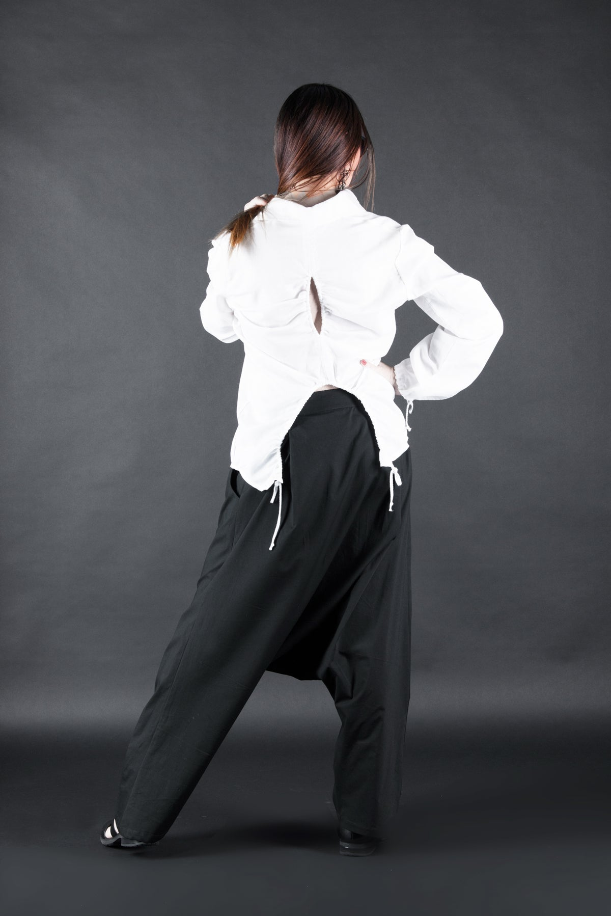Black Harem Drop Crotch Loose Fit Pants, Pants & Leggings