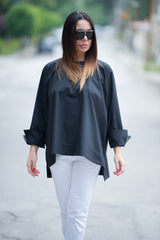 White Cotton Loose Shirt, Elegant Blouse, Tops & Tunics