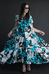 Blue Flowers Maxi Summer Cotton Dress, New Arrival