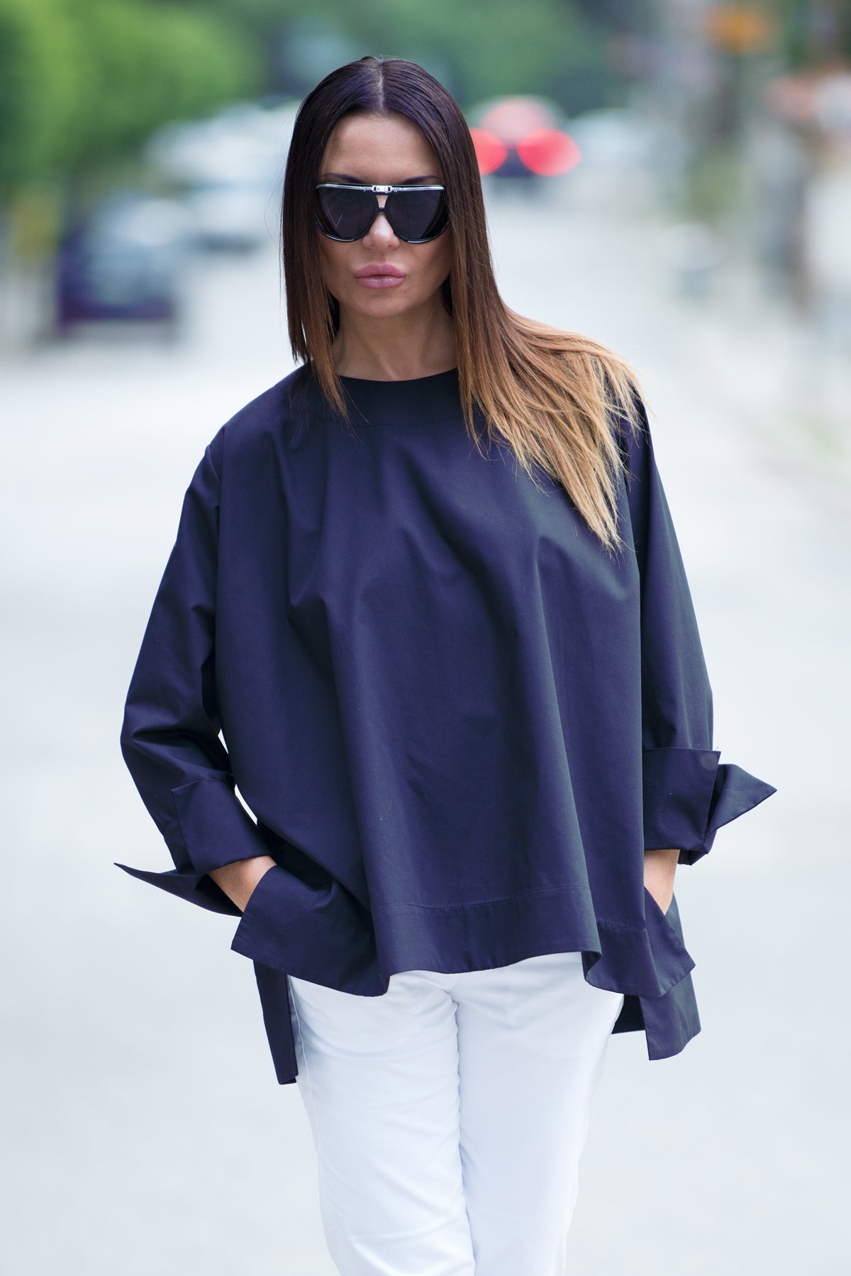 Navy Blue Cotton Loose Summer Top