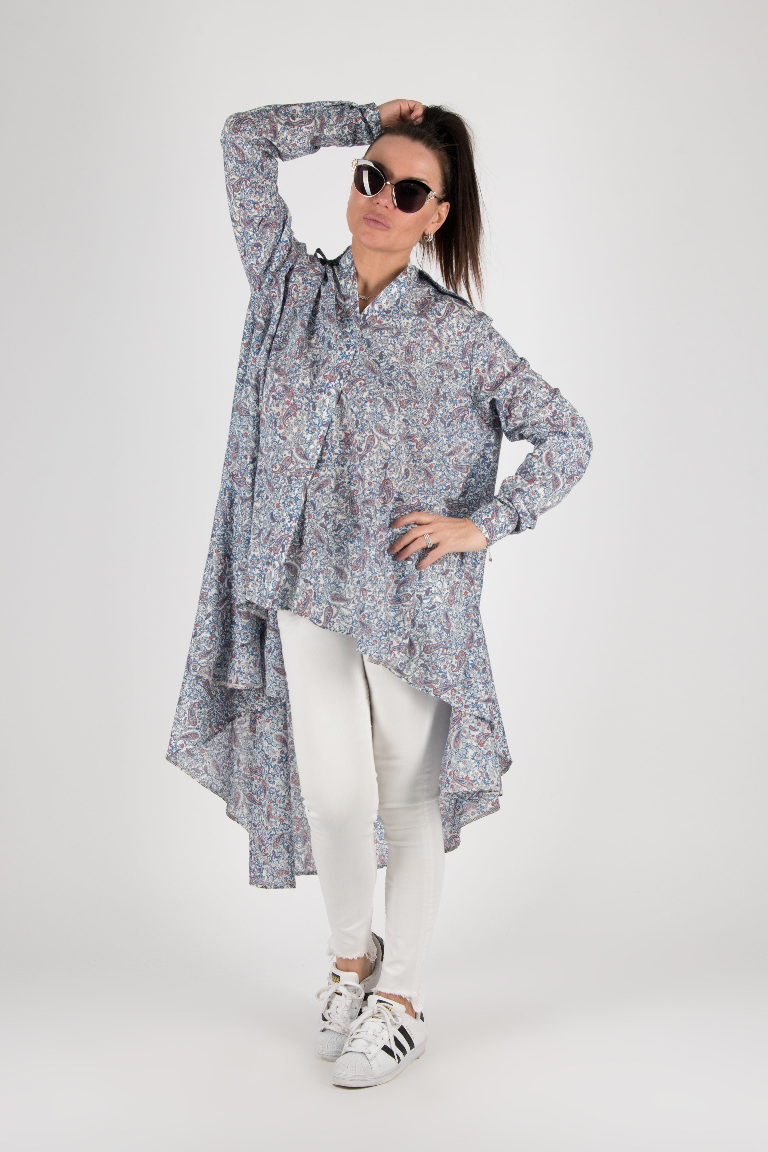 Blue Cotton Maxi Shirt, New Arrival